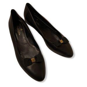 Brooks Brothers leather career ballet black flats